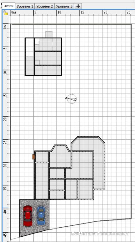 предполагаемое размещение строений на участке